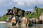 With its 2500 inhabitants and its somptuous beaches, the small island of La Digue  symbolizes the Seychellois paradise. Obligated passage for the sunset in the Source d'Argent bight. Gigantic pink granite rocks, polished by waves of tenderness, pleated by the ocean's angers have formed separated white sand alcoves shaded by protecting coconut trees. Magical!