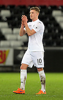 Pictured: Adam King of Swansea Tuesday 28 February 2017<br /> Re: Premier League International Cup, Swansea City U23 v Hertha Berlin II at at the Liberty Stadium, Swansea, UK