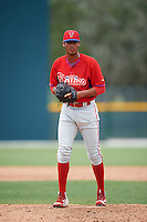 GCL Phillies relief pitcher Geury Ortiz (88) during a game against the GCL Pirates on August 6, 2016 at Pirate City in Bradenton, Florida.  GCL Phillies defeated the GCL Pirates 4-1.  (Mike Janes/Four Seam Images)