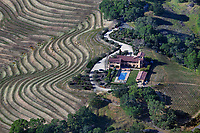 aerial photograph of a mountainside residence and vineyard, Calistoga,  Napa County, California, 3400 Old Lawley Toll Rd., Calistoga