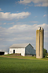 White barn and silo. CR 3000S and US224. OH.