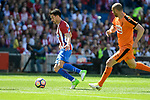 Atletico de Madrid's Nico Gaitán and SD Eibar's Ivan Ramis Barrios during Liga Liga match between Atletico de Madrid and SD Eibar at Vicente Calderon Stadium in Madrid, May 06, 2017. Spain.<br /> (ALTERPHOTOS/BorjaB.Hojas)