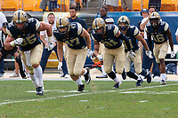 Members of the PItt kickoff team ready the kickoff. Shown are George Aston (35), Kyle Nunn (47), Jim Medure (81), Colin Jonov (41) and Damarri Mathis (16). The Pitt Panthers football team defeated the Albany Great Danes 33-7 on September 01, 2018 at Heinz Field, Pittsburgh, Pennsylvania.