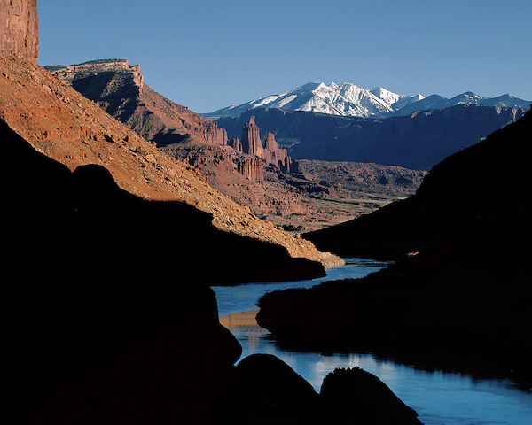 Fisher Towers and the Colorado River, with the La Sal Mountains behind, Moab, Utah,