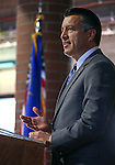 Gov. Brian Sandoval speaks at a Nevada National Guard Combat Veterans Remembrance Day ceremony at the Office of the Adjutant General in Carson City, Nev., on Friday, April 17, 2015. A tribute wall with the names of about 2,700 Nevada National Guard Soldiers and Airmen deployed into combat zones since Sept. 11, 2001 was unveiled. <br /> Photo by Cathleen Allison