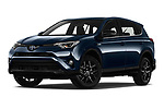 Stock pictures of low aggressive front three quarter view of a 2018 Toyota RAV4 Black edition Hybride 5 Door SUV