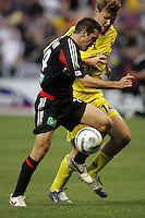 7 May 2005.  DC United's Ben Olsen (14) fights for the ball with Columbus Crew defender Chad Marshall (14) at RFK Stadium in Washington, DC.
