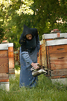 At the Triors Abbey (Abbaye Notre-Dame de Triors, Drome, France), Friar Claude keeps an apiary of forty hives to produce the abbey's honey. For centuries, abbeys and monks were important honey and wax producers..