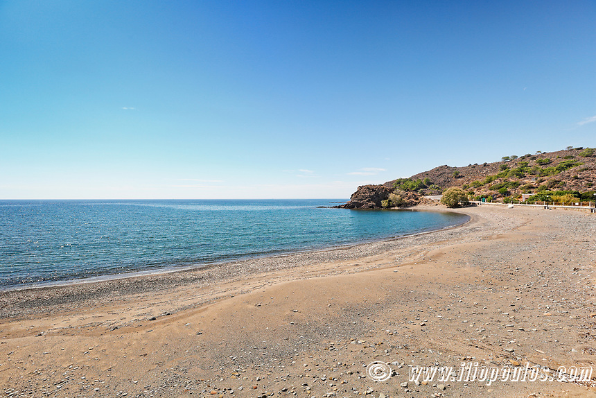The beach Limnos in Chios island, Greece