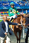 Spring Venture, with jockey P. Husbandsmakes his way after a winning finish at Woodbine Race Course in Ontario, Canada on September 15, 2012.