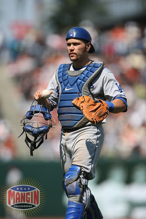 SAN FRANCISCO - JULY 6:  Russell Martin of the Los Angeles Dodgers walks back to home plate during the game against the San Francisco Giants at AT&T Park in San Francisco, California on July 6, 2008.  The Dodgers defeated the Giants 5-3.  Photo by Brad Mangin