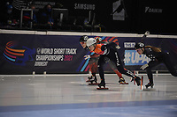 SPEEDSKATING: DORDRECHT: 06-03-2021, ISU World Short Track Speedskating Championships, SF 500m Ladies, Florence Brunelle (CAN), Selma Poutsma (NED), Kristen Santos (USA), ©photo Martin de Jong