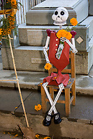 "Oaxaca, Mexico, North America.  Day of the Dead Celebrations. Cemetery Entrance Decorations, Skeleton in the ""Catrina"" Style Popularized by Mexican Artist Jose Guadalupe Posada."