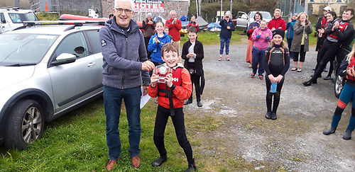 Oppie class second prize winner Rory McHale with CSS commodore Dave Cahill Photo: Bartley Fannin