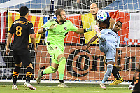 KANSAS CITY, UNITED STATES - AUGUST 25: Gadi Kinda #17 of Sporting Kansas City scores with a over head kick  a game between Houston Dynamo and Sporting Kansas City at Children's Mercy Park on August 25, 2020 in Kansas City, Kansas.