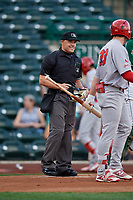 Umpire Bobby Tassone during a Midwest League game between the Peoria Chiefs and Fort Wayne TinCaps on July 17, 2019 at Parkview Field in Fort Wayne, Indiana.  Fort Wayne defeated Peoria 6-2.  (Mike Janes/Four Seam Images)