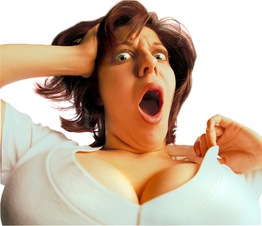 Woman showing a lot of cleavage with shocked expression on her face. Billboard and broadcast must be negotiated, due to talent agreement. Large Chested Woman.