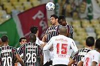 2nd June 2021; Maracana Stadium, Rio de Janeiro, Brazil; Copa do Brazil, Fluminense versus Red Bull Bragantino; Fred and Luccas Claro of Fluminense clash as they both leap for a clearing header