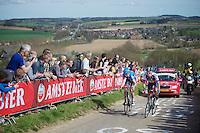 48th Amstel Gold Race 2013..Johan Vansummeren (BEL) & Alexandr Pliuschin (RUS) up the Gulperberg heaving lost the wheel of race leader Mikel Astarloza (ESP) ahead