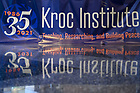September 21, 2021; Banner celebrating the 35th Anniversary of the Kroc Institute (Photo by Matt Cashore/University of Notre Dame)