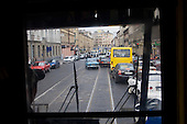 Traffic seen from a tram window in Lviv.