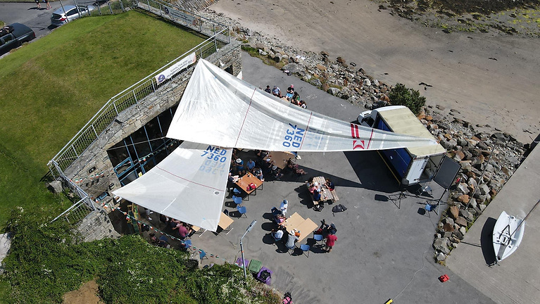 Mullaghmore Sailing Club's Regatta dining area was covered by upcycled sails and the Bar made from recycled wooden pallets