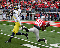 November 22, 2008. Ohio State wide receiver Brian Robiskie (80) can't hold on to this pass. The Ohio State Buckeyes defeated the Michigan Wolverines 42-7 on November 22, 2008 at Ohio Stadium, Columbus, Ohio.