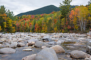 East Branch of the Pemigewasset River during the autumn months in Lincoln, New Hampshire.
