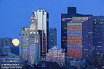 Moonset over the Boston skyline from East Boston, MA, USA