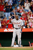 Torii Hunter #48 of the Detroit Tigers tips his batting helmet to the fans after receiving a standing ovation during his first game at Angel Stadium playing against the Los Angeles Angels after becoming a member of the Tigers in 2013 at Angel Stadium on April 19, 2013 in Anaheim, California. (Larry Goren/Four Seam Images)