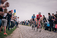 Jasper Stuyven (BEL/Trek-Segafredo) & Wout Van Aert (BEL/Vérandas Willems-Crelan) trying to bridge the gap to the front together<br /> <br /> 116th Paris-Roubaix (1.UWT)<br /> 1 Day Race. Compiègne - Roubaix (257km)