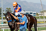 ARCADIA, CA  APRIL 3:  #3 Rock Your World, ridden by an emotional Umberto Rispoli, after winning the Santa Anita Derby (Grade l) on April 3, 2021 at Santa Anita Park, in Arcadia, CA.(Photo by Casey Pnillips/ Eclipse Sportswire/ CSM)