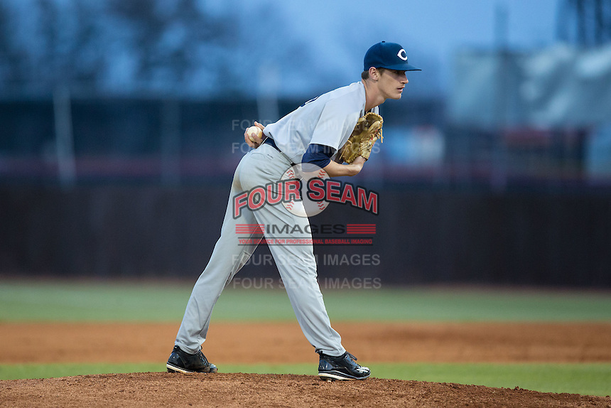Catawba Indians starting pitcher Bryan Ketchie (16) looks to his catcher for the sign against the Belmont Abbey Crusaders at Abbey Yard on February 7, 2017 in Belmont, North Carolina.  The Crusaders defeated the Indians 12-9.  (Brian Westerholt/Four Seam Images)