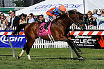 05 15 2010: Strike a Deal & Ramon Dominguez win he 109th running of the Grade 2 Dixie Stakes, 1 1/8 mile on the turf for 3 year olds & up, at Pimlico Race Course, Baltimore, MD. Trainer Alan Goldberg.  Owner Richard Santulli