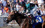 ARLINGTON HEIGHTS, IL - AUGUST 12:  Harmac #3, ridden by Miguel Mena, wins the Bruce D. Memorial Stakes on Arlington Million Day at Arlington Park on August 12, 2017 in Arlington Heights, Illinois. (Photo by Jon Durr/Eclipse Sportswire/Getty Images)