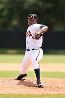 GCL Braves pitcher Jordany Santana (9) delivers a pitch during a game against the GCL Blue Jays on June 27, 2014 at the ESPN Wide World of Sports in Orlando, Florida.  GCL Braves defeated GCL Blue Jays 10-9.  (Mike Janes/Four Seam Images)