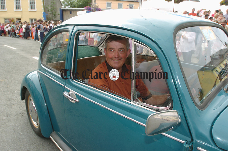 Brendan Price with his VW Beetle at the Kildysart Festival Parade. Photograph by John Kelly.
