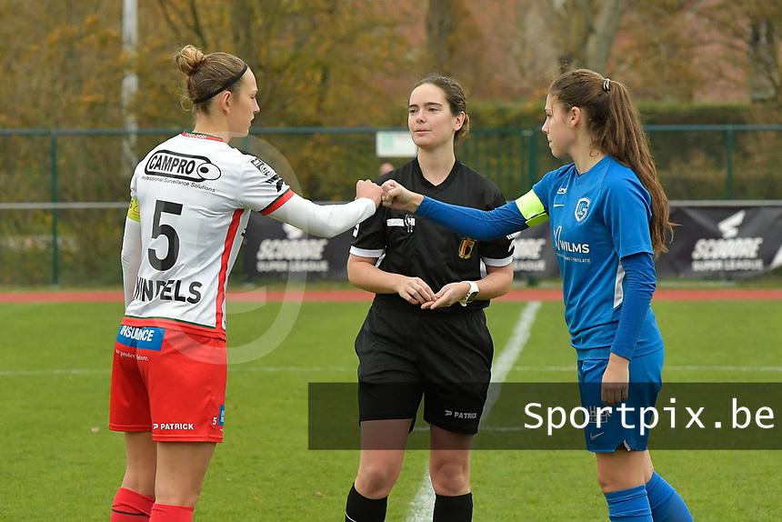Referee Irmgard Van Meirvenne (M) with Zulte Waregem's defender Pauline Windels (L) and Genk's midfielder Sien Vandersanden (R)  pictured during a female soccer game between SV Zulte - Waregem and KRC Genk on the 8 th matchday of the 2020 - 2021 season of Belgian Scooore Women s SuperLeague , saturday 21 th of November 2020  in Zulte , Belgium . PHOTO SPORTPIX.BE   SPP   DIRK VUYLSTEKE