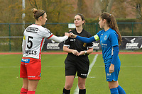 Referee Irmgard Van Meirvenne (M) with Zulte Waregem's defender Pauline Windels (L) and Genk's midfielder Sien Vandersanden (R)  pictured during a female soccer game between SV Zulte - Waregem and KRC Genk on the 8 th matchday of the 2020 - 2021 season of Belgian Scooore Women s SuperLeague , saturday 21 th of November 2020  in Zulte , Belgium . PHOTO SPORTPIX.BE | SPP | DIRK VUYLSTEKE