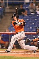 Bowie Baysox outfielder Chris Marrero (33) hits a double during a game against the Binghamton Mets on August 3, 2014 at NYSEG Stadium in Binghamton, New York.  Bowie defeated Binghamton 8-2.  (Mike Janes/Four Seam Images)