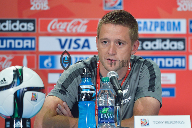 New Zealand's Head Coach Tony Readings during a press conference on the eve of Women's World Cup Soccer match,  June 05, 2015 in Edmonton, Alberta. (Mo Khursheed/TFV Media via AP Images)