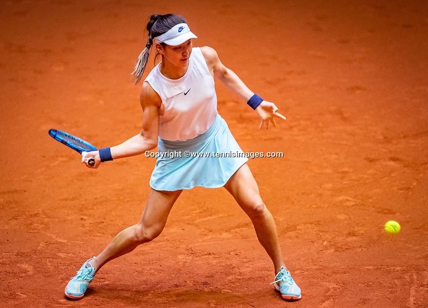 Den Bosch, The Netherlands, April 16, 2021,    Maaspoort, Billy Jean King Cup  Netherlands -  China :   Xinyu Wang (CHN)<br /> Photo: Tennisimages/Henk Koster