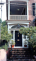Charleston: Charleston house, Tradd St. Door, piazza.  Photo '78.