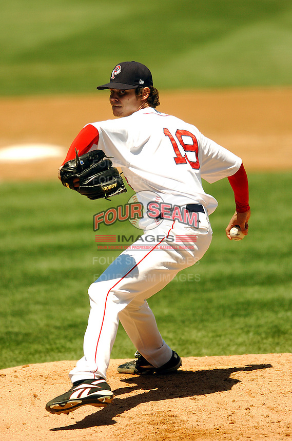 RHP Clay Buchholz of the Pawtucket Red Sox, the AAA International League affiliate of the Boston Red Sox, in action vs. the Buffalo Bisons at McCoy Stadium in Pawtucket, RI 5-19-09 (Photo by Ken Babbitt/Four Seam Images)