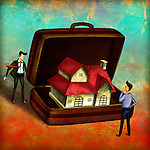 Illustration of agent with model house in briefcase depicting concept of real estate services