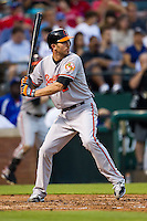 Baltimore Orioles shortstop JJ Hardy #2 at bat during the Major League Baseball game against the Texas Rangers on August 21st, 2012 at the Rangers Ballpark in Arlington, Texas. The Orioles defeated the Rangers 5-3. (Andrew Woolley/Four Seam Images).