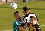 Darlington's Terry Galbraith collides with his goalkeeper Jonny Maddison. Galbraith suffered concussion and a suspected broken nose. Maddison was able to continue after treatment. Darlington 1883 v Southport, National League North, 16th February 2019. The reborn Darlington 1883 share a ground with the town's Rugby Union club. <br />