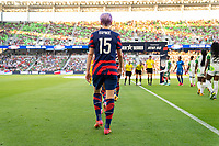 AUSTIN, TX - JUNE 16: Megan Rapinoe #15 of the USWNT enters the field before a game between Nigeria and USWNT at Q2 Stadium on June 16, 2021 in Austin, Texas.