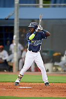 GCL Rays Luis Arcendo (3) at bat during a Gulf Coast League game against the GCL Pirates on August 7, 2019 at Charlotte Sports Park in Port Charlotte, Florida.  GCL Rays defeated the GCL Pirates 5-3 in the second game of a doubleheader.  (Mike Janes/Four Seam Images)