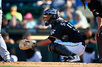 Pittsburgh Pirates catcher Jacob Stallings (58) during a Spring Training game against the Tampa Bay Rays on March 10, 2017 at LECOM Park in Bradenton, Florida.  Pittsburgh defeated New York 4-1.  (Mike Janes/Four Seam Images)